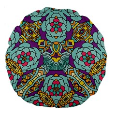 Mariager   Bold Blue,purple And Yellow Flower Design Large 18  Premium Flano Round Cushion  by Zandiepants