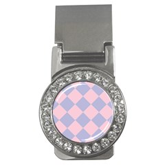 Harlequin Diamond Argyle Pastel Pink Blue Money Clips (cz)  by CrypticFragmentsColors