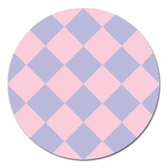 Harlequin Diamond Argyle Pastel Pink Blue Magnet 5  (round) by CrypticFragmentsColors