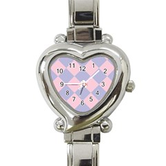 Harlequin Diamond Argyle Pastel Pink Blue Heart Italian Charm Watch