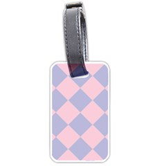 Harlequin Diamond Argyle Pastel Pink Blue Luggage Tags (one Side)  by CrypticFragmentsColors