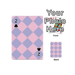 Harlequin Diamond Argyle Pastel Pink Blue Playing Cards 54 (mini)  by CrypticFragmentsColors