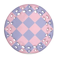 Harlequin Diamond Argyle Pastel Pink Blue Round Filigree Ornament (2side) by CrypticFragmentsColors