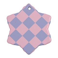 Harlequin Diamond Argyle Pastel Pink Blue Snowflake Ornament (2 Side) by CrypticFragmentsColors