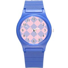 Harlequin Diamond Argyle Pastel Pink Blue Round Plastic Sport Watch (s) by CrypticFragmentsColors