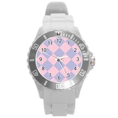 Harlequin Diamond Argyle Pastel Pink Blue Round Plastic Sport Watch (l) by CrypticFragmentsColors