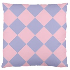 Harlequin Diamond Argyle Pastel Pink Blue Large Cushion Case (one Side) by CrypticFragmentsColors