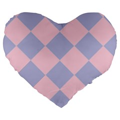 Harlequin Diamond Argyle Pastel Pink Blue Large 19  Premium Flano Heart Shape Cushions by CrypticFragmentsColors