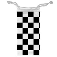 Checkered Flag Race Winner Mosaic Tile Pattern Jewelry Bags by CrypticFragmentsColors