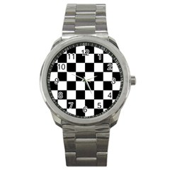 Checkered Flag Race Winner Mosaic Tile Pattern Sport Metal Watch by CrypticFragmentsColors