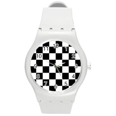 Checkered Flag Race Winner Mosaic Tile Pattern Round Plastic Sport Watch (m) by CrypticFragmentsColors