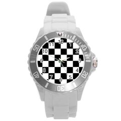 Checkered Flag Race Winner Mosaic Tile Pattern Round Plastic Sport Watch (l) by CrypticFragmentsColors