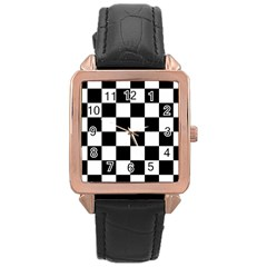 Checkered Flag Race Winner Mosaic Tile Pattern Rose Gold Leather Watch  by CrypticFragmentsColors