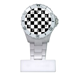 Checkered Flag Race Winner Mosaic Tile Pattern Plastic Nurses Watch by CrypticFragmentsColors