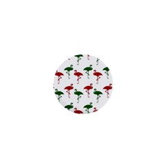 Flamingos Christmas Pattern Red Green 1  Mini Button by CrypticFragmentsColors