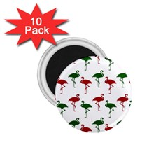 Flamingos Christmas Pattern Red Green 1 75  Magnet (10 Pack)  by CrypticFragmentsColors