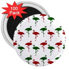 Flamingos Christmas Pattern Red Green 3  Magnet (100 Pack)