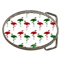 Flamingos Christmas Pattern Red Green Belt Buckle by CrypticFragmentsColors