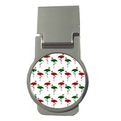 Flamingos Christmas Pattern Red Green Money Clip (round) by CrypticFragmentsColors