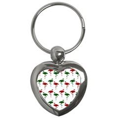 Flamingos Christmas Pattern Red Green Key Chain (heart)