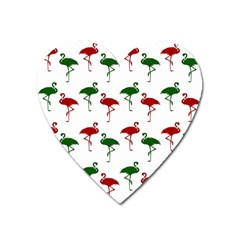 Flamingos Christmas Pattern Red Green Magnet (heart) by CrypticFragmentsColors