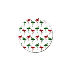 Flamingos Christmas Pattern Red Green Golf Ball Marker by CrypticFragmentsColors