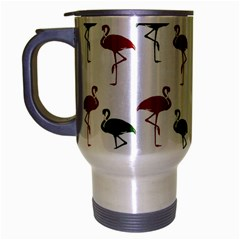 Flamingos Christmas Pattern Red Green Travel Mug (silver Gray)