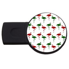 Flamingos Christmas Pattern Red Green Usb Flash Drive Round (4 Gb)