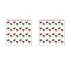 Flamingos Christmas Pattern Red Green Cufflinks (square) by CrypticFragmentsColors