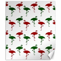 Flamingos Christmas Pattern Red Green Canvas 8  X 10  by CrypticFragmentsColors