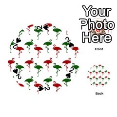 Flamingos Christmas Pattern Red Green Playing Cards 54 (round)