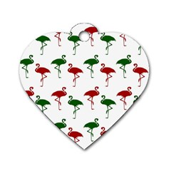 Flamingos Christmas Pattern Red Green Dog Tag Heart (two Sides) by CrypticFragmentsColors