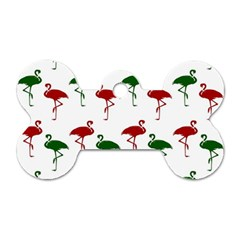 Flamingos Christmas Pattern Red Green Dog Tag Bone (one Side) by CrypticFragmentsColors