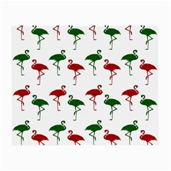 Flamingos Christmas Pattern Red Green Small Glasses Cloth (2 Sides) by CrypticFragmentsColors