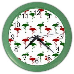 Flamingos Christmas Pattern Red Green Color Wall Clock