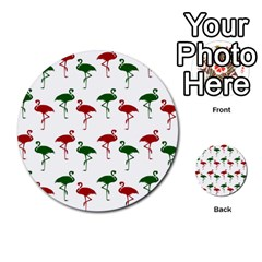 Flamingos Christmas Pattern Red Green Multi Purpose Cards (round) by CrypticFragmentsColors