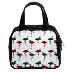 Flamingos Christmas Pattern Red Green Classic Handbag (two Sides) by CrypticFragmentsColors