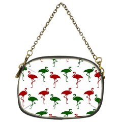Flamingos Christmas Pattern Red Green Chain Purse (one Side)