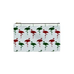 Flamingos Christmas Pattern Red Green Cosmetic Bag (small)
