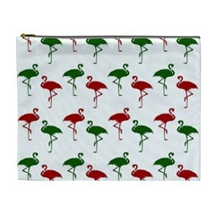 Flamingos Christmas Pattern Red Green Cosmetic Bag (xl) by CrypticFragmentsColors
