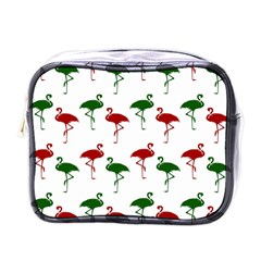 Flamingos Christmas Pattern Red Green Mini Toiletries Bag (one Side)