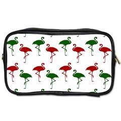 Flamingos Christmas Pattern Red Green Toiletries Bag (two Sides) by CrypticFragmentsColors