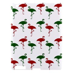 Flamingos Christmas Pattern Red Green Apple Ipad 3/4 Hardshell Case by CrypticFragmentsColors