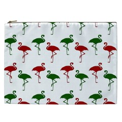 Flamingos Christmas Pattern Red Green Cosmetic Bag (xxl) by CrypticFragmentsColors