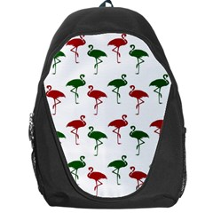Flamingos Christmas Pattern Red Green Backpack Bag by CrypticFragmentsColors