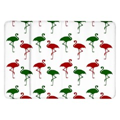 Flamingos Christmas Pattern Red Green Samsung Galaxy Tab 8 9  P7300 Flip Case by CrypticFragmentsColors