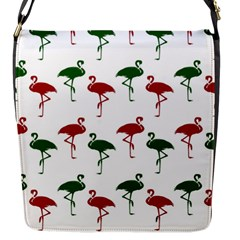 Flamingos Christmas Pattern Red Green Flap Closure Messenger Bag (s) by CrypticFragmentsColors
