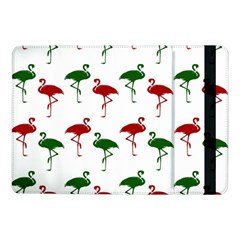 Flamingos Christmas Pattern Red Green Samsung Galaxy Tab Pro 10 1  Flip Case by CrypticFragmentsColors