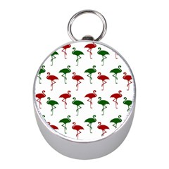 Flamingos Christmas Pattern Red Green Silver Compass (mini) by CrypticFragmentsColors