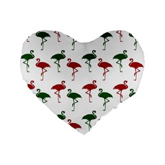Flamingos Christmas Pattern Red Green Standard 16  Premium Flano Heart Shape Cushion  by CrypticFragmentsColors